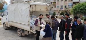 Afrin merkezindeki ailelere insani yardım