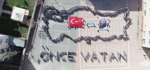 Sivas'ta Öğrenciler Bedenleriyle Türkiye Haritası Yaptı