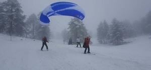 Gediz Muratdağı Termal Kayak Merkezi'nde 'paraşüt ve kayak' keyfi