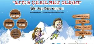 Eşler, kızak yarışıyla Erciyes'te sevgilerini tazeleyecek