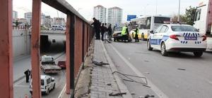 Otomobilinin ön camına korkuluk demiri düşen sürücü ölümden döndü