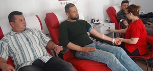 Güvenlik korucuları Mehmetçik için kan bağışladı