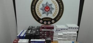 Tırdaki bidon ve gizli bölmelerden bin 200 paket sigara çıktı