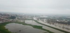 (Özel) Edirne'de taşkın havadan görüntülendi