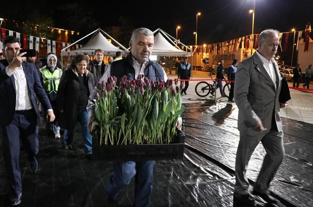 Dünyanın en büyük Türk bayrağı temalı lale peyzajı Kayseri'ye yapılıyor İlk lale sandığını Başkan Çelik koydu