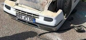 Otomobil takla atarak ters döndü: 5 yaralı