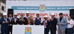 """Tarsus Belediye Başkanı Can: """"Göreve geldiğimiz günden bugüne kadar 33 hizmetimizin açılışını yaptık"""" Ferahim Şalvuz ve Yarbay Şemsettin Mahalleleri'ne yapılacak olan semt pazarı, halı saha ve yaşam boyu spor merkezinin temelleri atıldı"""