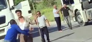 Tırpanlı tır şoförü dehşeti Tartıştığı kişinin üzerine tırpanla yürüdü