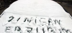 Erzurum'a baharda kar sürprizi