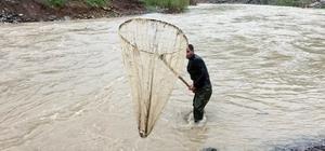 Habur Çayında tehlikeli balık avı