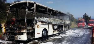 Tur otobüsü alev alev yandı