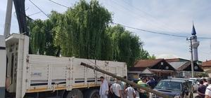 Kazada telefon telleri koptu direkler devrildi
