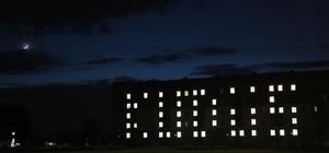 """Öğrenciler, yurt binalarının ışıklarıyla """"Kudüs"""" yazdı"""