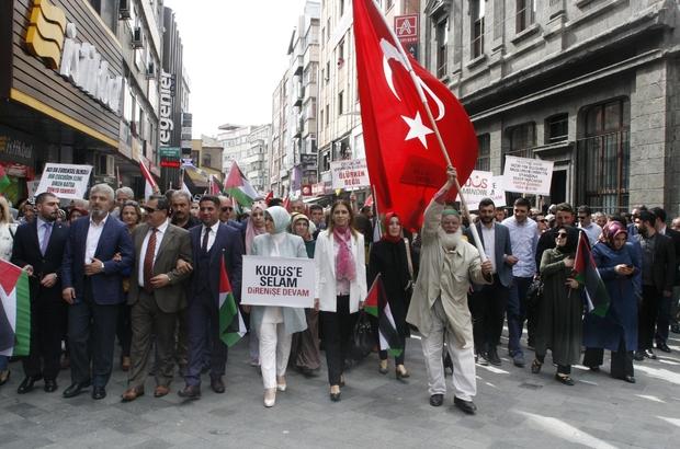 """Trabzon'da 'İşgale karşı ses ver"""" mitingi düzenlendi İsrail'in Filistin'de gerçekleştirdiği katliam yurt genelinde olduğu gibi Trabzon'da da protesto edildi"""