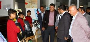 Hizan'da ortaokul öğrencilerinin resim sergisi