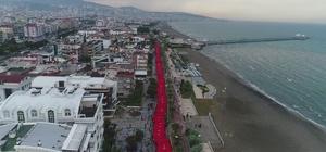 Samsun sahili ay-yıldız 1919 metrelik Türk bayrağı açıldı
