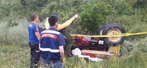 Şarampole devrilen traktörün sürücüsü öldü