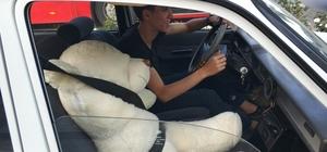 Samsun'da sürücünün yanına oturttuğu oyuncak ayıya emniyet kemeri takması dikkat çekti