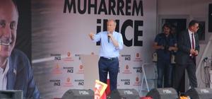 """Muharrem İnce Düzce'de CHP Cumhurbaşkanı Adayı Muharrem İnce: """"Sayın Erdoğan, Amerika'daki lobi şirketlerine kaç para ödedin?"""" """"Ağustos'ta fındık 15 lira olacak"""" """"Asgari ücret 2 bin 200 lira olacak"""""""