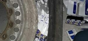 Kamyon lastiğinde 6 bin paket sigara çıktı