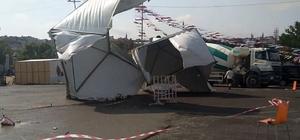 Tekirdağ'da fırtına, çadırları böyle uçurdu Tekirdağ fırtınaya teslim oldu, vatandaşlar zor anlar yaşadı