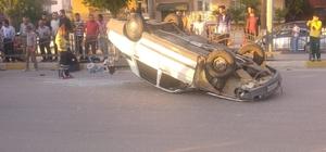 Kontrolden çıkan araç takla attı