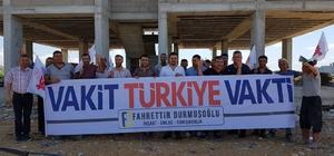 """Osmaniye'de inşaat işçileri """"Vakit Türkiye Vakti"""" dedi Kadirli ilçesinde bir grup inşaat işçileri """"Vakit Türkiye Vakti"""" pankartı açıp Cumhur İttifakı'na destek verdi"""