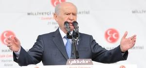 """MHP Lideri Bahçeli: """"24 Haziran Türkiye'nin yeniden doğuş, dirilişinin miladıdır"""" Devlet Bahçeli, partisinin düzenlediği Büyük Çukurova Mitingi'nde halka hitap etti MHP Lideri Devlet Bahçeli: """"Partimizin sırtından kurban kesmeye çalışanlar ise bir kez daha hezimete uğrayacaktır"""" """"24 Haziran'da Recep Tayyip Erdoğan tekrar cumhurbaşkanı seçilecek ve yürütmenin başı olacaktır"""""""