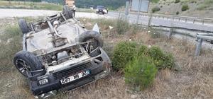 Takla atan otomobilden sürücüsü burnu bile kanamadan kurtuldu