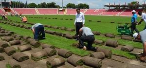 Atatürk Stadının çimleri sökülmeye başladı Sökülen çimler spor sahalarına döşeniyor
