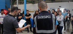 Staj yapan öğrenciler SASKİ tesislerini ziyaret etti