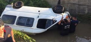 Sulama kanalında can pazarı, kanala uçan aracın sürücüsünü boğulmaktan itfaiye ekipleri kurtardı