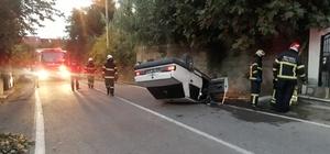Takla atan otomobil doğalgaz borusunu patlattı: 1 yaralı