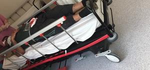 Patlayan lastik tamirciyi hastanelik etti