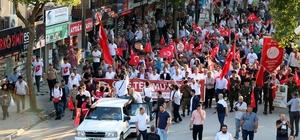 Sakarya'da Milli Birlik Günü Gençlik Yürüyüşü Yaklaşık 500 metrelik Türk bayrağıyla yürüdüler