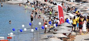Bodrum'da görme engellilere özel yüzme parkuru