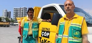"""Bu taksiler çöp topluyor Mersin'in Akdeniz Belediyesi tarafından hayata geçirilen 'Çöp Taksi' uygulaması 7 gün 24 saat boyunca vatandaşların çöp toplama ihtiyacını anında karşılıyor Akdeniz Belediye Başkanı Muhittin Pamuk: """"Anlık çöp toplama ihtiyacı en seri biçimde karşılanıyor"""""""