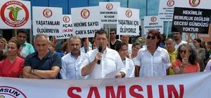 Samsun'da sağlıkçılar, sağlıkta şiddete tepki için eylem yaptı