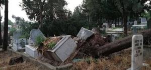 Kadirli'de yağmur ve fırtına hayatı felç etti Evlerin çatısı uçtu,ağaçlar yerinden söküldü, ev ve işyerlerini su bastı, mezarlıklar tahrip oldu
