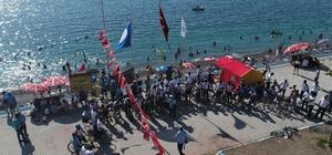 '1. Ulusal Van Denizini Pedallıyoruz' etkinliği Etkinliği bugünkü durağı mavi bayraklı halk plajı oldu