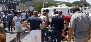 Bodrum'da karşı şeride geçen forklift hafif ticari araçla çarpıştı: 3 yaralı