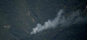 Uludağ eteklerinde orman yangınına 2 helikopter havadan müdahale ediyor