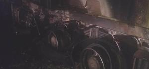 Mut'ta beton mikseri alev alev yandı