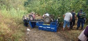 Alaplı'da tarım aracı devrildi: 3 yaralı