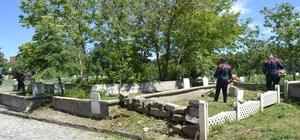 Şuhut ilçe mezarlığında çevre düzenleme çalışmaları başladı
