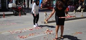 Yaya geçitlerine gül yaprakları dökerek farkındalık eylemi yaptılar