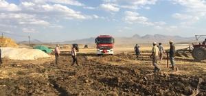 Erzurum'da korkutan ot yangını 100 ton saman kül oldu