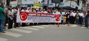 """Dörtyol'da 25 STK'dan """"Türk lirasına sahip çıkıyoruz, devletimizin yanındayız"""" açıklaması Cumhurbaşkanı Recep Tayyip Erdoğan'ın çağrısına destek veren STK temsilcileri, ellerinde bulunan altınları bozdurarak Türk lirasına çevirdiler"""