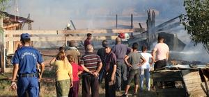 Ahır ve depo olarak kullanılan baraka küle döndü Barakadan sıçrayan alevler 2 dönüm tarlayı yaktı