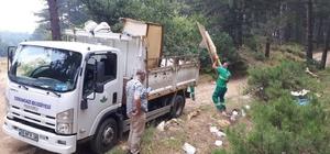 Osmangazi Belediyesi'nden dağ yolunda temizlik